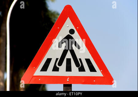 Road sign of zebra crossing at velha ; Goa ; India - Stock Photo