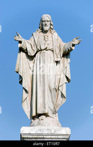 Statue of jesus christ of se cathedral at velha ; Goa ; India - Stock Photo