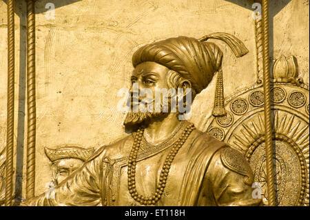 Chhatrapati Shivaji Maharaj mural Mumbai Maharashtra India Asia - nmk 179219 - Stock Photo
