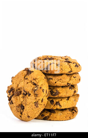 pille of chocolate chip cookies in white background - Stock Photo