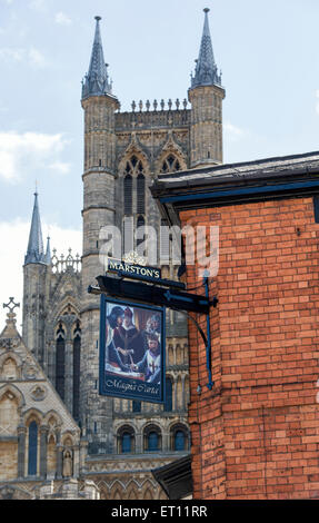 Magna carta pub sign in front of Lincoln Cathedral. Steep Hill, Lincoln, Lincolnshire, England - Stock Photo