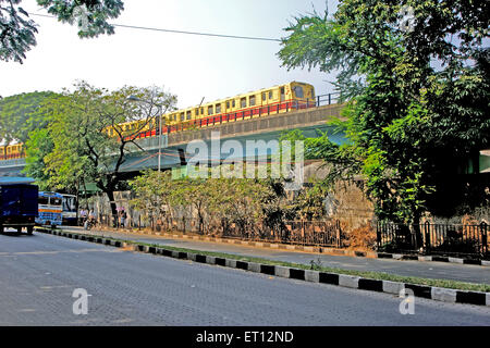 Metro train kolkata west bengal India Asia - Stock Photo