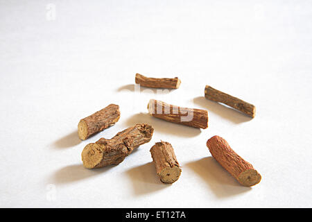 Mulethi Liquorice Glycyrrhiza glabra made from root of  European plant used in medicine and confectionery a flavoured - Stock Photo