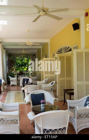 patio of La Veranda resort hotel on Phu Quoc Island Vietnam South east Asia - Stock Photo