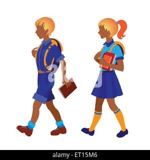 Back to school. Schoolboy and schoolgirl going to school. RGB EPS 10 vector illustration - Stock Photo