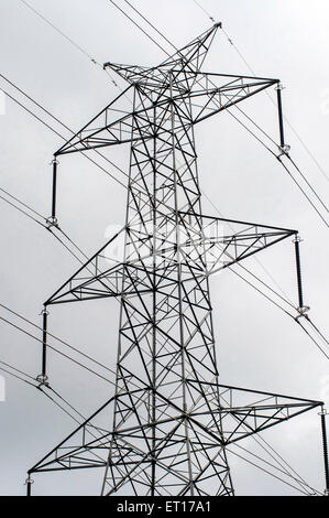 electric transmission tower India Asia - Stock Photo