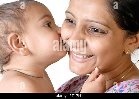 Indian baby boy child kissing mother - MR#152&364 - rmm 150177 - Stock Photo