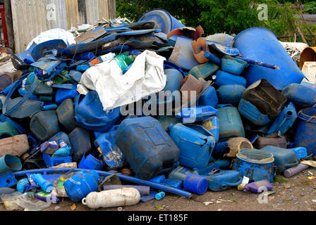 Plastic junk waste on Redskin Islands ; Andaman Nicobar Islands ; Bay of Bengal ; India October 2008 - Stock Photo
