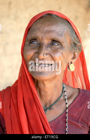 Old woman wearing earring nosering mangalsutra saree Amreli Gujarat India MR#781O - Stock Photo