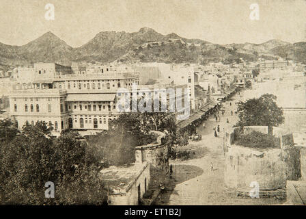Old picture of naya bazaar of Ajmer ; Rajasthan ; India - Stock Photo