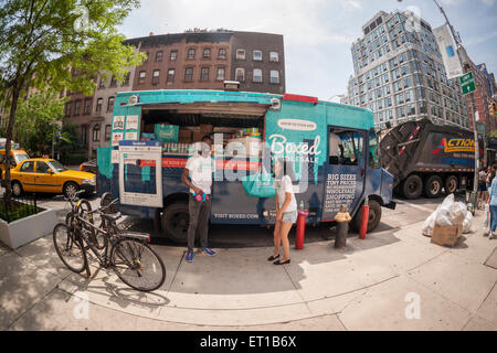 A truck promoting Boxed, a mobile app selling bulk items at wholesale prices is seen in Chelsea in New York on Thursday, - Stock Photo