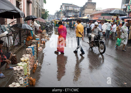 Market scene in monsoon ; Ahmedabad ; Gujarat ; India - Stock Photo