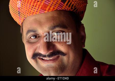 Man Wearing Rajasthani turban MR#704 Jodhpur Rajasthan India Asia - Stock Photo