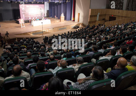 Audience in Tagore Hall Ahmedabad Gujarat India Asia - Stock Photo