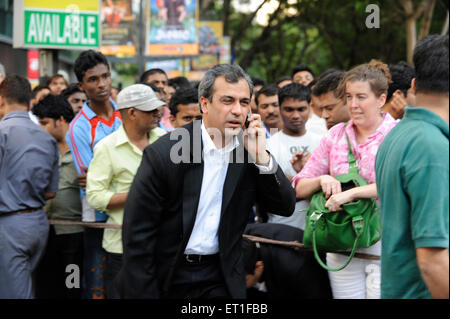 Hostages of terrorist attack by Deccan Mujahedeen got released on 26 November 2008 in Bombay - Stock Photo