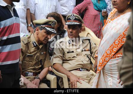 IPS officer Hasan Gafoor A.N. Roy at funeral Anti Terrorism Squad Chief Hemant Karkare killed terrorist attack Bombay - Stock Photo