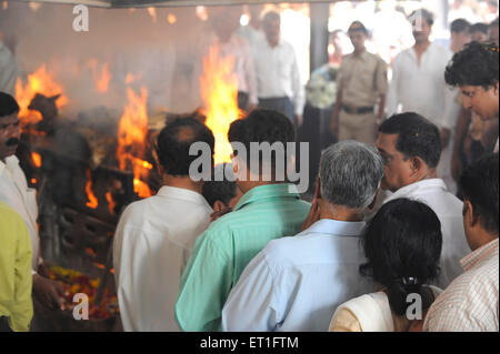 Funeral of Anti Terrorism Squad Chief Hemant Karkare killed by terrorist attack in Bombay Mumbai - Stock Photo