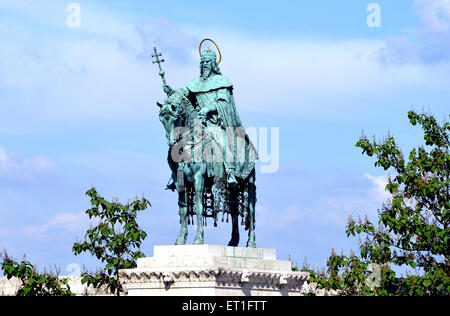 Bronze statue of King Saint Stephen which stands outside Matthias Cathedral in Budapest - Stock Photo