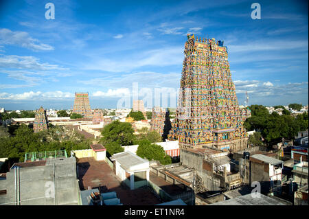 Gopurams of meenakshi sundareswarar or meenakshi amman temple at ; Madurai ; Tamil Nadu ; India - Stock Photo