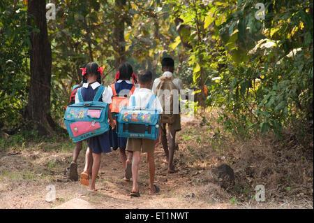 Students of village school in Maharashtra ; India - Stock Photo