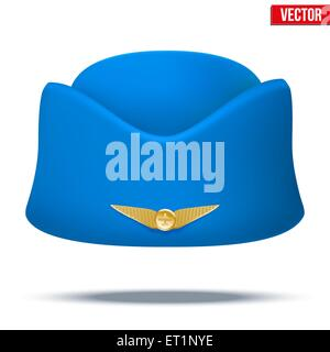Classic Stewardess hat forage-cap of air hostess uniform. Vector. - Stock Photo