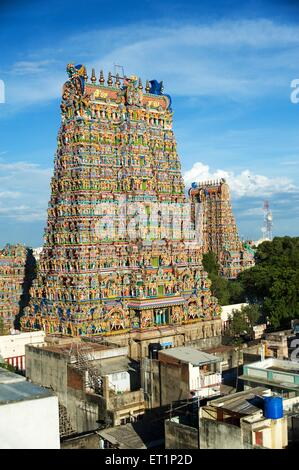 Gopurams of meenakshi sundareswarar or meenakshi amman temple ; Madurai ; Tamil Nadu ; India - Stock Photo