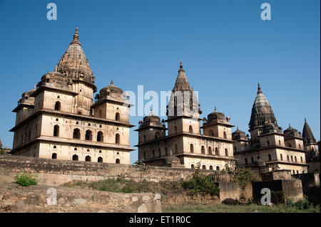 Cenotaphs of rulers ; Orchha ; Tikamgarh ; Madhya Pradesh ; India - Stock Photo