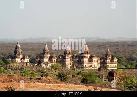 Cenotaphs rulers ; Orchha ; Tikamgarh ; Madhya Pradesh ; India - Stock Photo