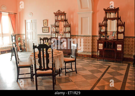 Dining room in scindia museum in jaivilas palace ; Gwalior ; Madhya Pradesh ; India - Stock Photo