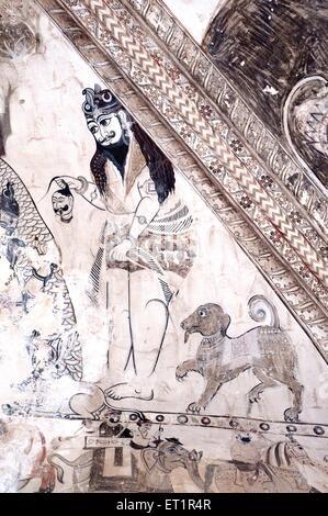 Wall paintings mural shiva with dog at Lakshminarayan temple ; Orchha ; Tikamgarh ; Madhya Pradesh ; India - Stock Photo