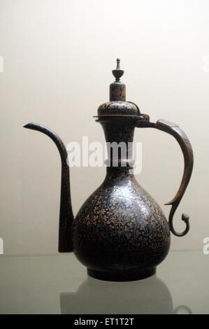 Decorative art deep vessel in vadodara museum Gujarat India Asia - Stock Photo