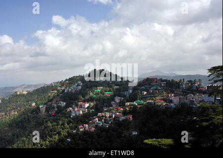 Aerial View of City in Shimla at Himachal Pradesh India Asia - Stock Photo