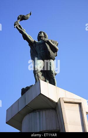 Statue of Hutatma Chowk memory of 105 martyrs killed in movement of Samyukat Maharashtra ; Churchgate ; Bombay Mumbai - Stock Photo