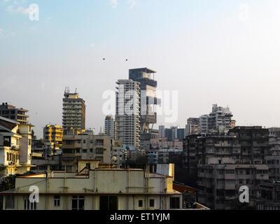 Antilla new house of mukesh ambani at altamount road Bombay Mumbai  ; Maharashtra  ; India NOPR - Stock Photo