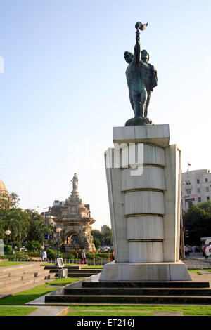 Statue of Hutatma Chowk memory of 105 martyrs killed in movement of Samyukat Maharashtra ; Churchgate ; Mumbai - Stock Photo