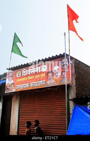 Shivsena public relation office in slum ; Nirankar Nagar ; Malvani ; Malad ; Bombay Mumbai ; Maharashtra - Stock Photo