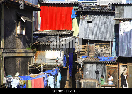 Drying cloth in slum ; Behram Naupada ; Anant Kanekar Marg ; Bandra ; Bombay Mumbai ; Maharashtra ; India 17 September - Stock Photo