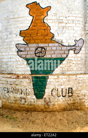 Flag in shape of Indian map painted on wall at Asansol ; West Bengal ; India - Stock Photo