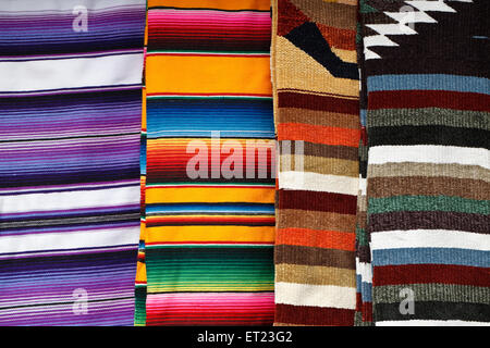 Bright colorful background of mexican blankets - Stock Photo