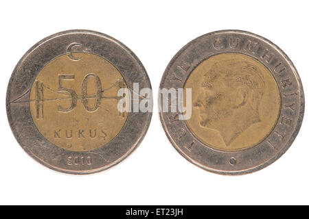 50 turkish kurus coin isolated on white background. - Stock Photo