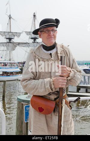 Colonial America 18th century rifleman reenactor - Alexandria, Virginia USA - Stock Photo