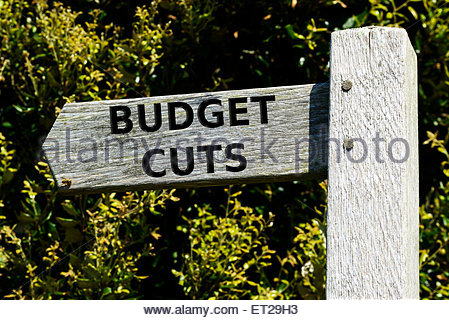 Signposting the debate on Budget Cuts, England UK - Stock Photo