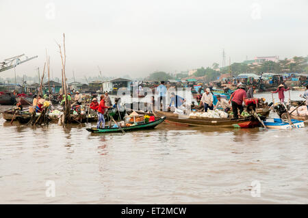 The floating market, Chau Doc, Vietnam - Stock Photo