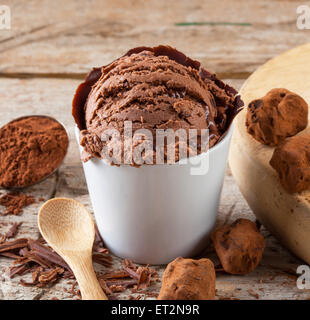 A scoop of home made chocolate ice cream. - Stock Photo