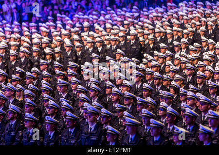 Swearing of 1500 new police officers in the in Dortmund, over 6000 family members and friends were watching the - Stock Photo