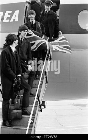 The Beatles return from Paris on BEA flight, landing at London Heathrow Airport, 5th February 1964. Top to bottom: - Stock Photo