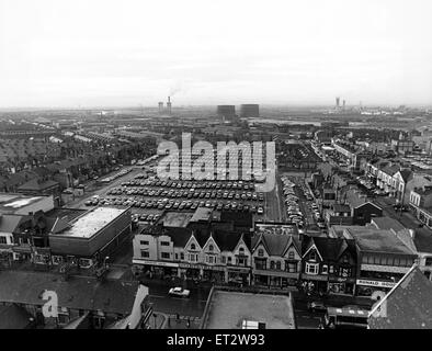 Aerial view of Middlesbrough, North Yorkshire. Five hundred cars parked in neat row dominate this bird's eye view - Stock Photo