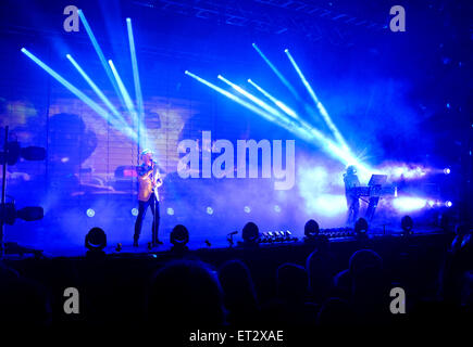 Neil Tennant - singer, and Chris Lowe - keyboard player of 'Pet Shop Boys' on stage  during Electric Tour - Stock Photo