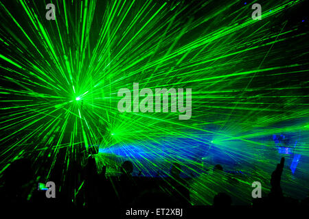 Laser show during Pet Shop Boys 'Electric Tour'. At Festival No.6 in Portmeirion, Wales - Stock Photo