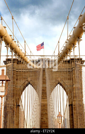 The Brooklyn Bridge spanning the East River from Manhattan to Brooklyn. The Bridge is a hybrid cable-stayed suspension bridge in New York City, USA